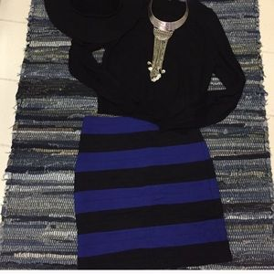 Royal Blue and Black striped Express skirt size 6
